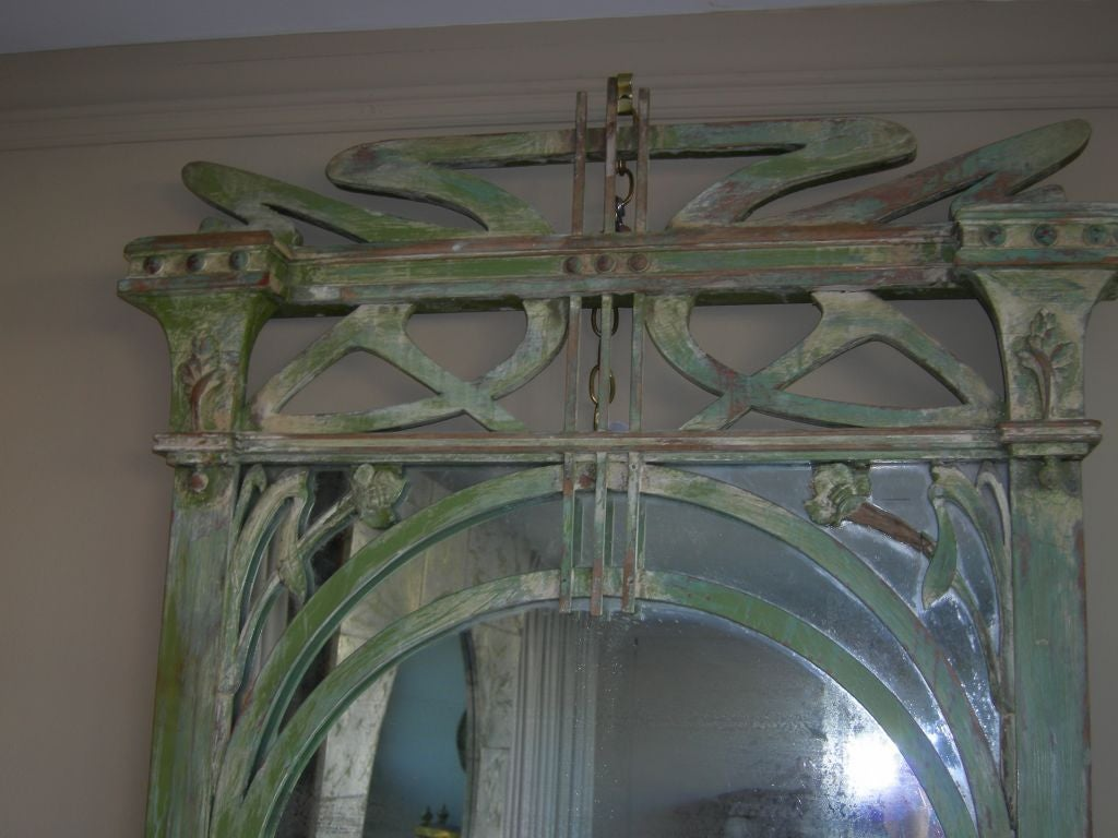 Large wood carved Art Nouveau mirror, original glass, original finish.