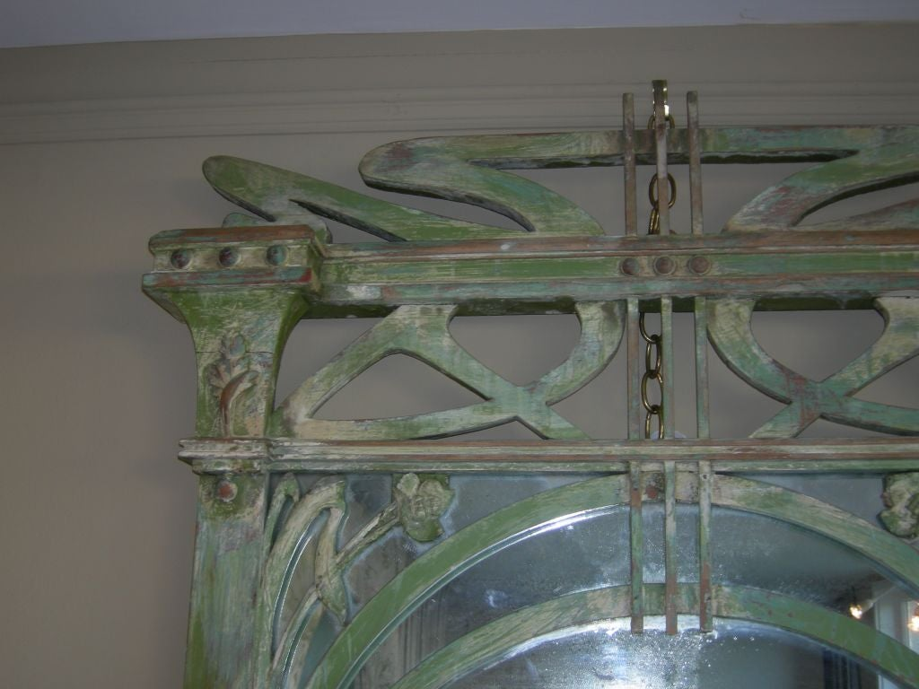 French Art Nouveau Hand-Carved Wood Mirror In Good Condition For Sale In Los Angeles, CA