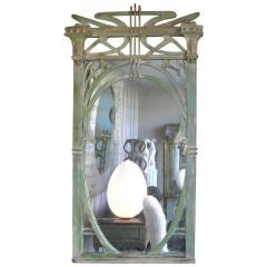 French Art Nouveau hand Carved Wood Mirror