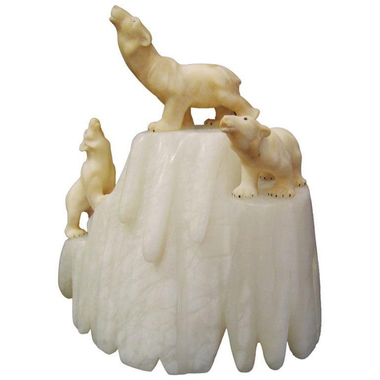 Italian Carved Alabaster Lamp