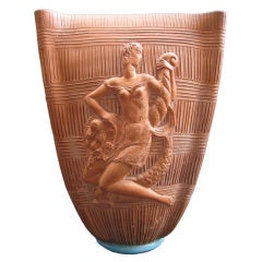 Monumental Urbano Zaccagninin Large Terracotta Vase