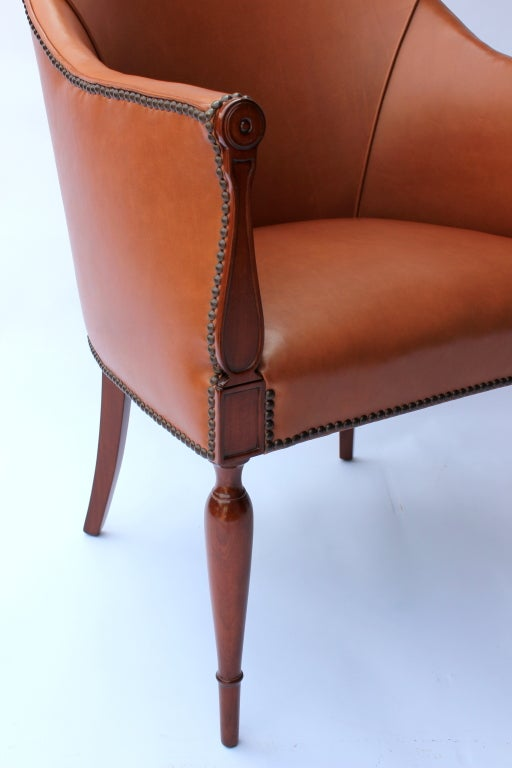 Leather Neoclassical Chair At 1stdibs