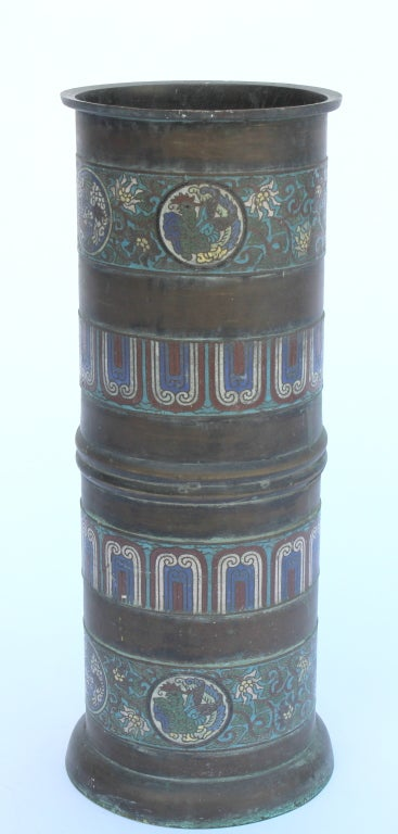Bronze cloisonne umbrella stand at 1stdibs for Cloison stand