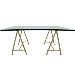 Maison Jansen Brass and Steel Saw Horse Cocktail Table
