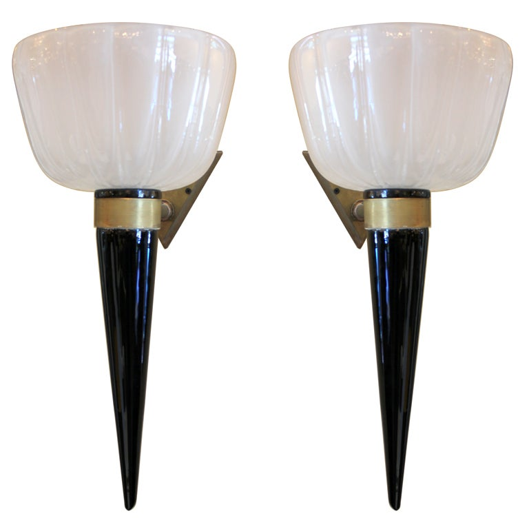 Tall Glass Wall Sconces : Set of 2 Large Two Foot Tall Blown Glass Sconces For Sale at 1stdibs
