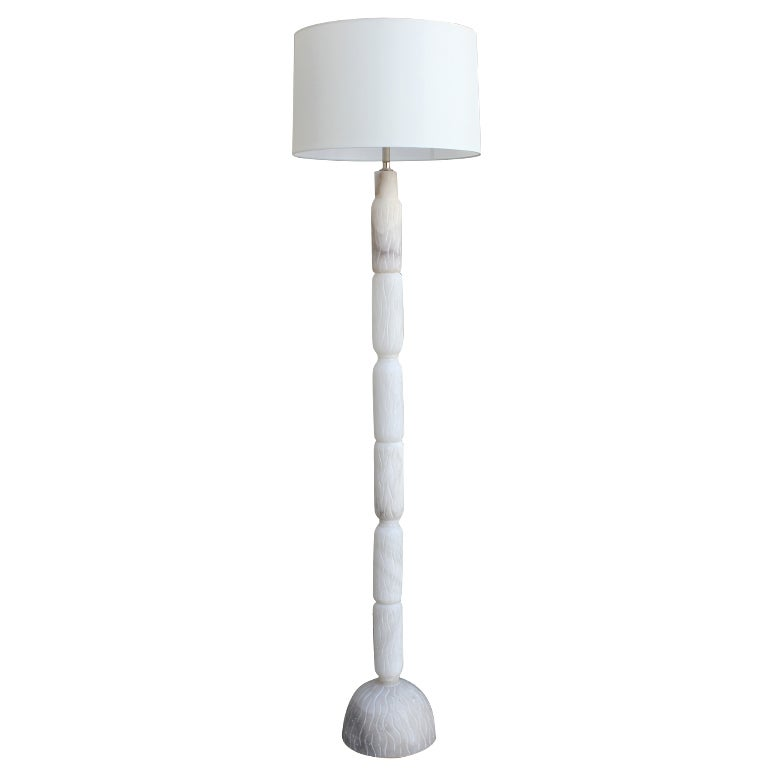 Honed Italian Alabaster Floor Lamp For Sale