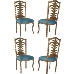 Set of Four Carved Gilt Italian Chairs