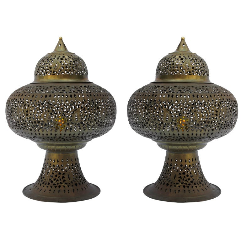 Pair Of Moroccan Table Lamps At 1stdibs