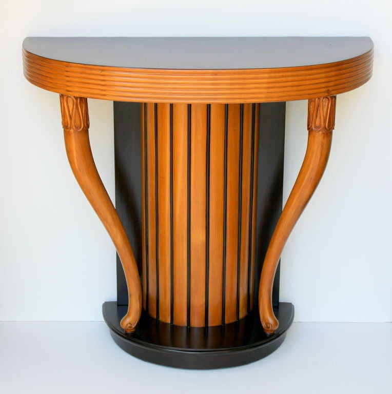 Italian Sycamore and Dark Walnut Console attributed to Osvaldo Borsani. Console has been restored. The color on the first set of pictures is the actual color of the console.