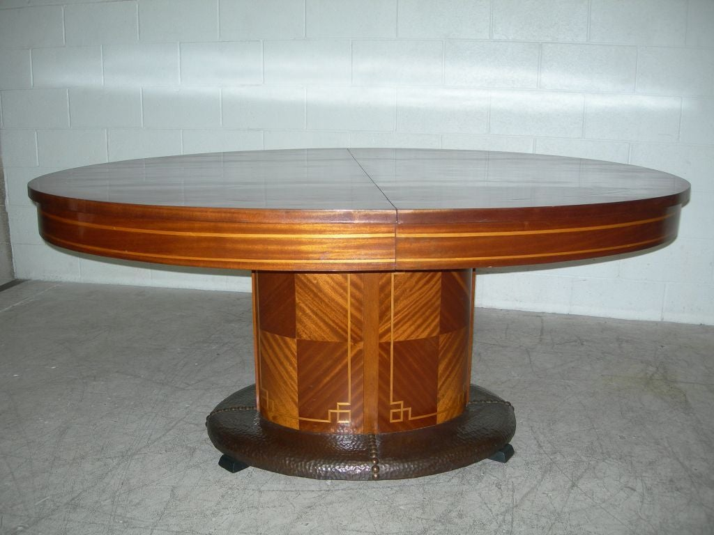 French Oval Dining Table With Hammered Copper For Sale At