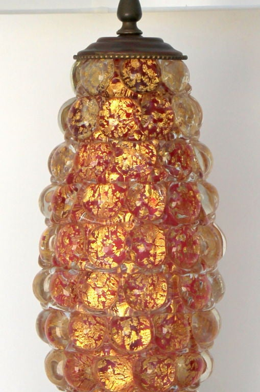 Pair of Ercole Barovier Lenti table lamps. Signed with label. The glass itself is over 15