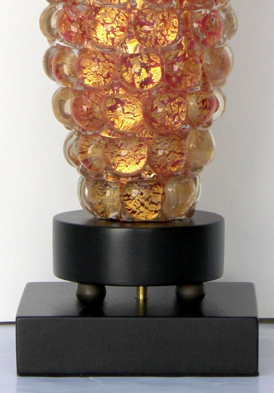 Italian Pair of Ercole Barovier Lenti Table Lamps For Sale