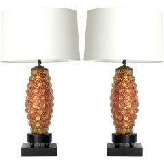 Pair of Ercole Barovier Lenti Table Lamps