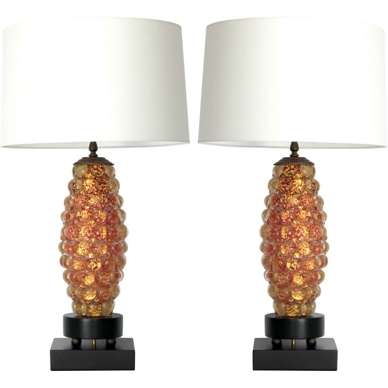Pair of Ercole Barovier Lenti Table Lamps For Sale