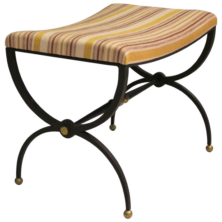 Arturo Pani Iron and Brass Stool