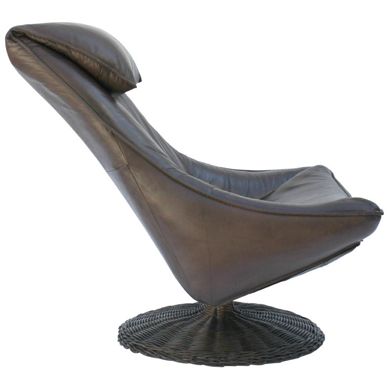 Gerard van den Berg Swivel Leather Lounge Chair at