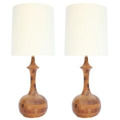 Pair of 1970s Turned Rift Oak Table Lamps