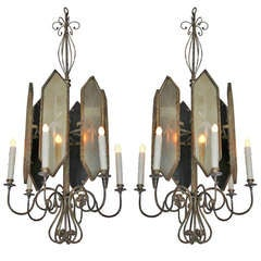 Pair of Italian Iron and Mirror Lanterns