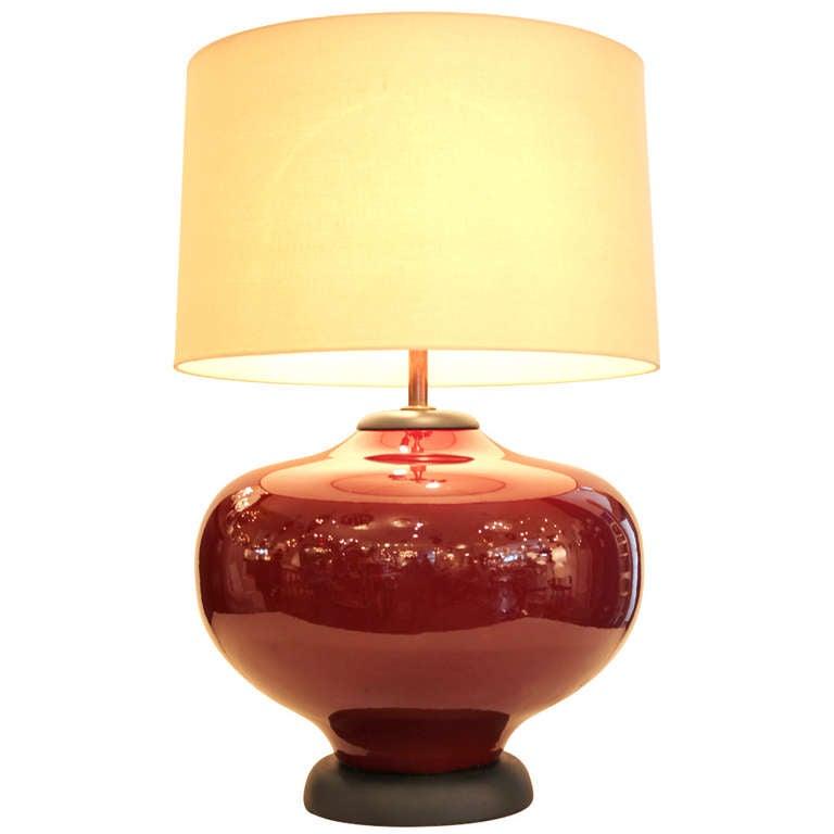Large Oxblood Ceramic Lamp