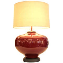 Large Oxblood Ceramic Lamp