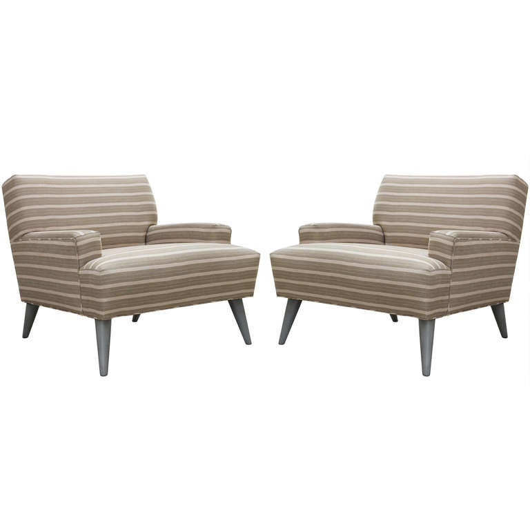 Pair of  Linen  Club Chairs 1