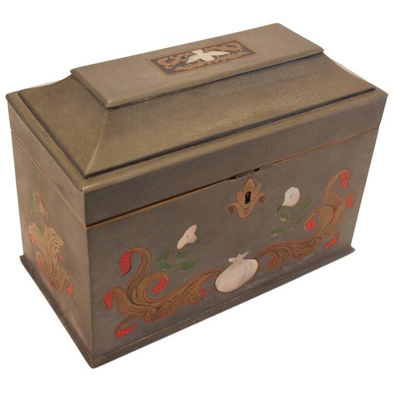 Pewter Tea Caddy Box