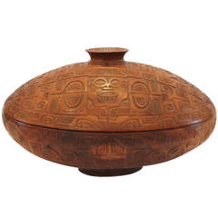 Carved Wooden Box with Removable Lid