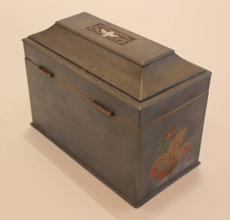 pewter tea caddy box for sale at 1stdibs. Black Bedroom Furniture Sets. Home Design Ideas