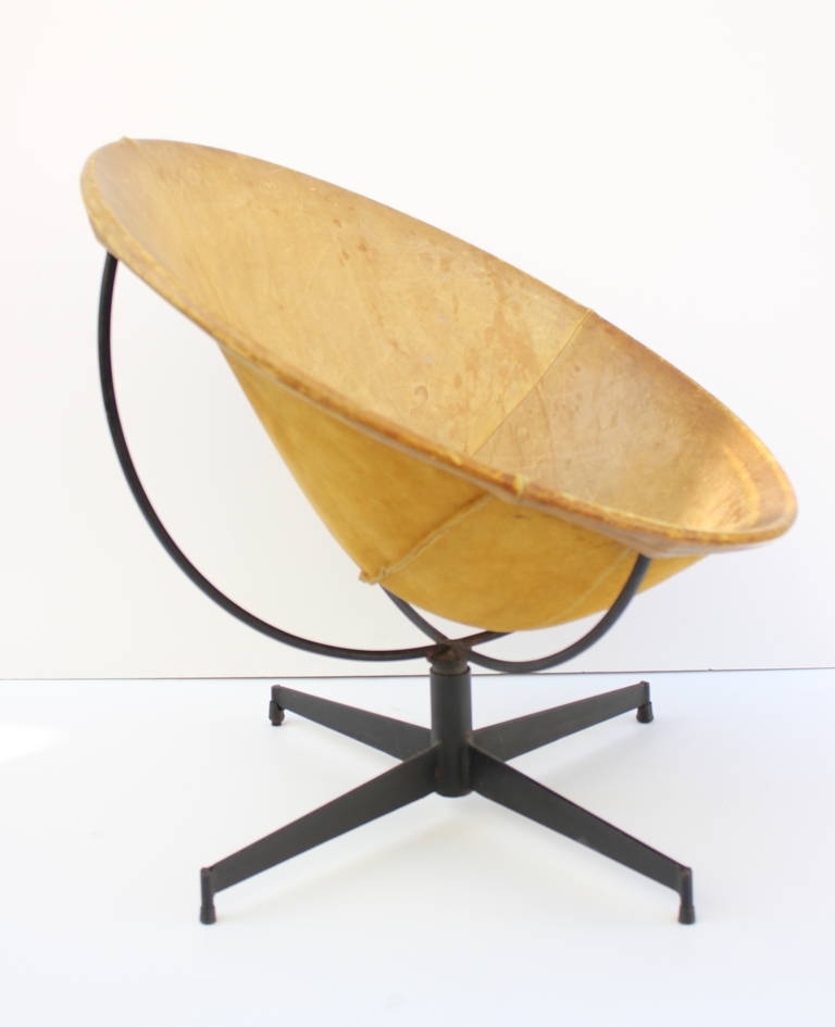 Leather and Iron  Swivel Chair 3