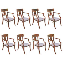 Set of Eight Michael Taylor White Chairs
