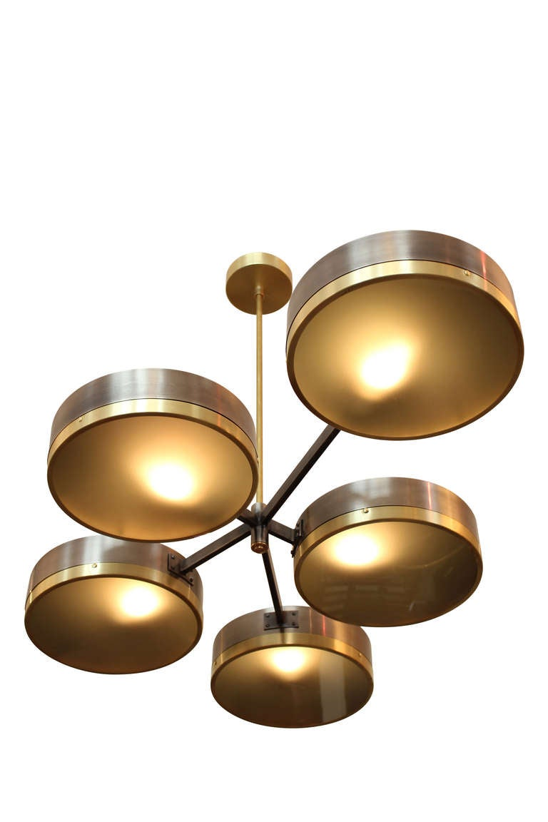 """Downtown Classics Collection Dante V Chandelier A Five Drum Chandelier Grey Steel/Brass Finish or Black/Brass Finish Frosted Glass 6"""" is the body height. Hand Made in Los Angeles"""