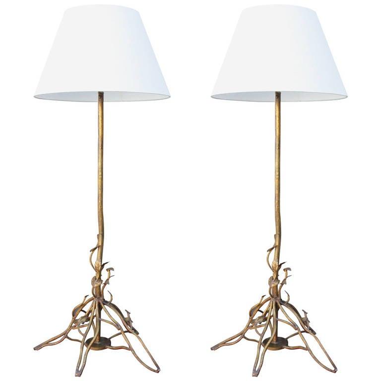 Pair of Large Faux Bois Floor Lamps