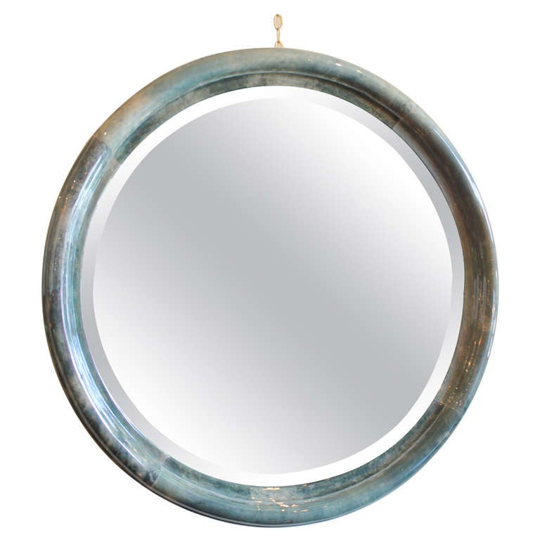 Large parchment mirror with beveled glass at 1stdibs for Tall glass mirror
