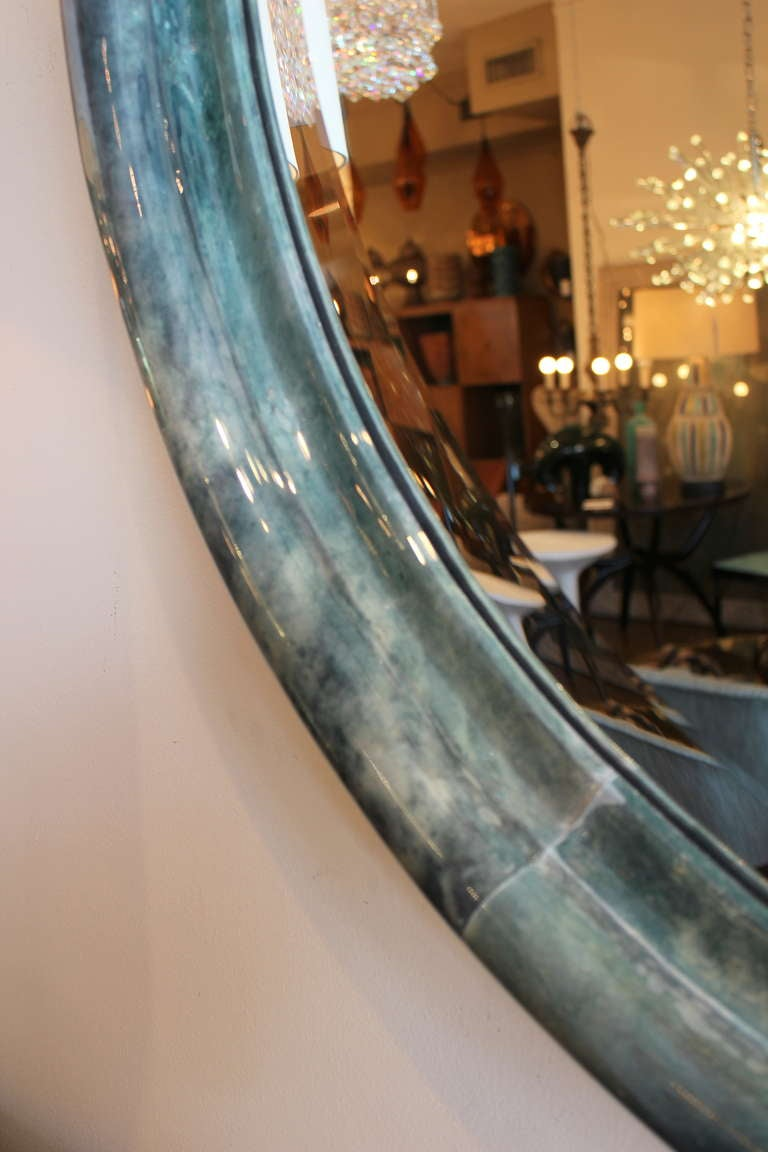 Large parchment mirror with beveled glass at 1stdibs for Beveled glass mirror