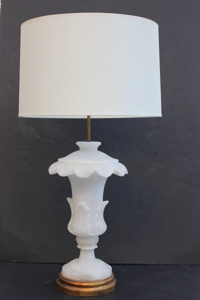 Pair of alabaster lamps. Honed finish. Rewired. Silk cords.