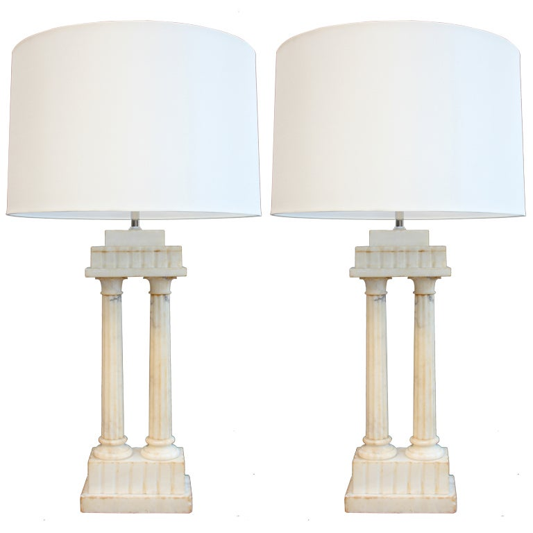 Pair of Alabaster Column Lamps