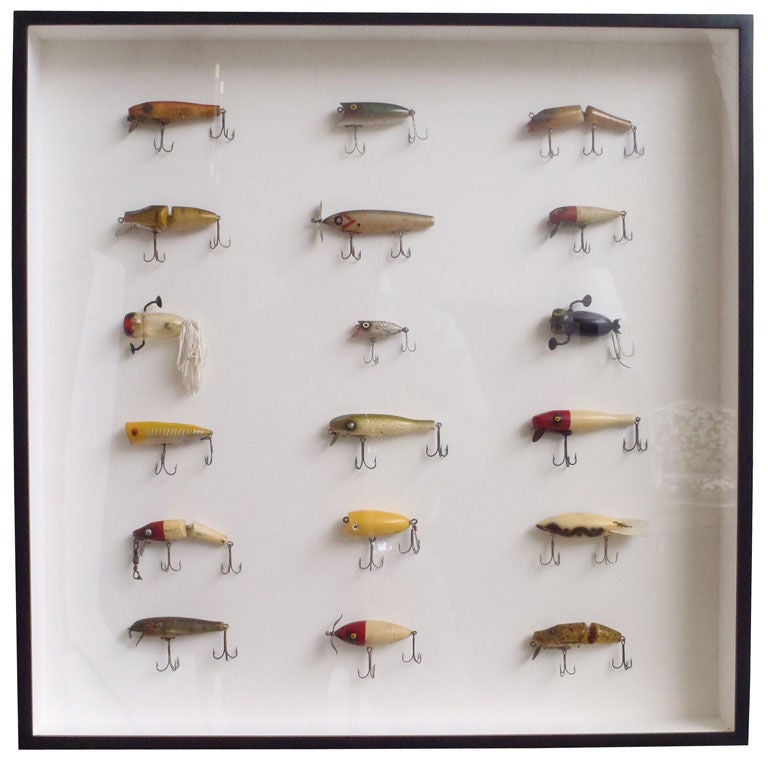 Framed Collection Of Fishing Lures At 1stdibs