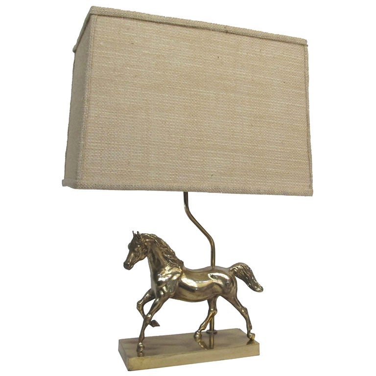 Brass Lamp With Sculpted Horse Base At 1stdibs
