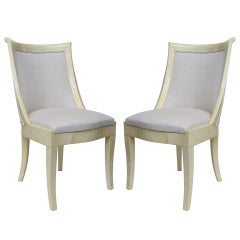 Pair of Directoire Style Parchment-Covered Side Chairs