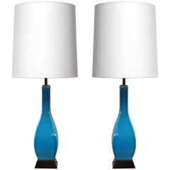 Pair of Turquoise Ceramic Lamps