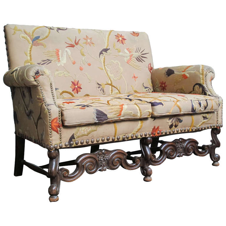 Jacobean Style Settee With Vintage Crewel Upholstery At