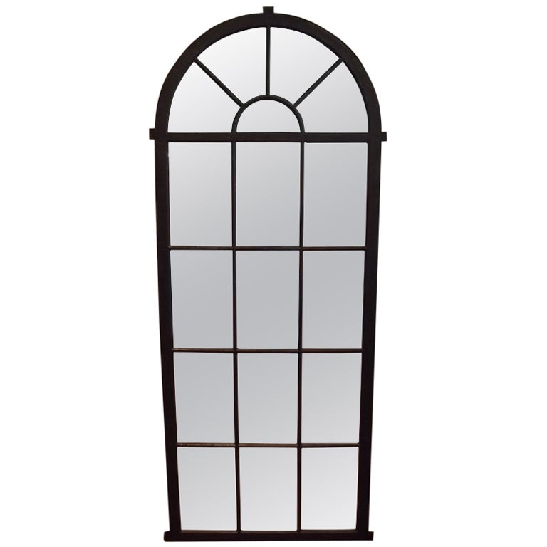 Polished iron palladian window mirror at 1stdibs for Full length window mirror