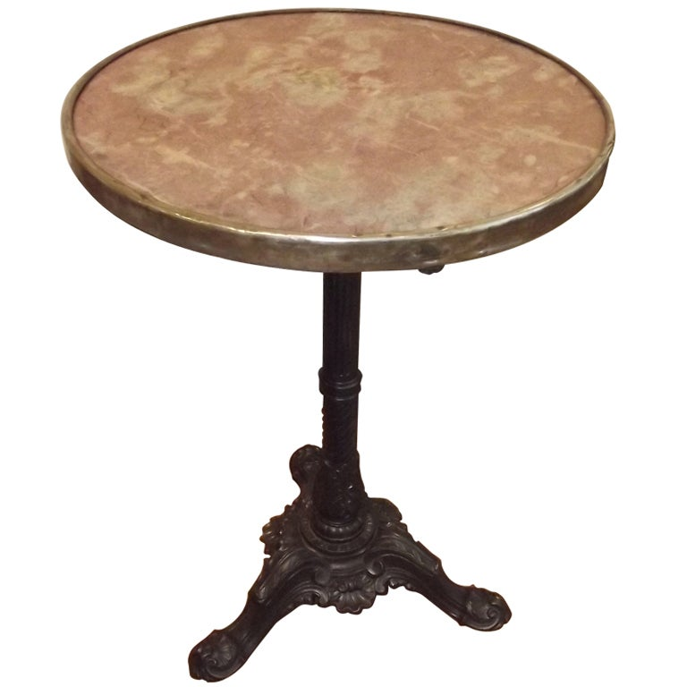 marble topped bistro table w cast iron base