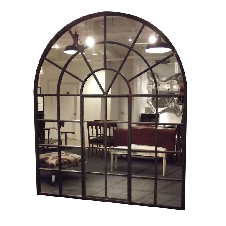 Very large cast iron palladian window mirror at 1stdibs for Full length window mirror