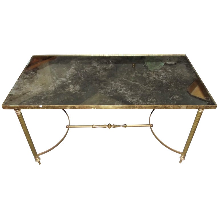 Brass Coffee Table W Distressed Mirror Top At 1stdibs