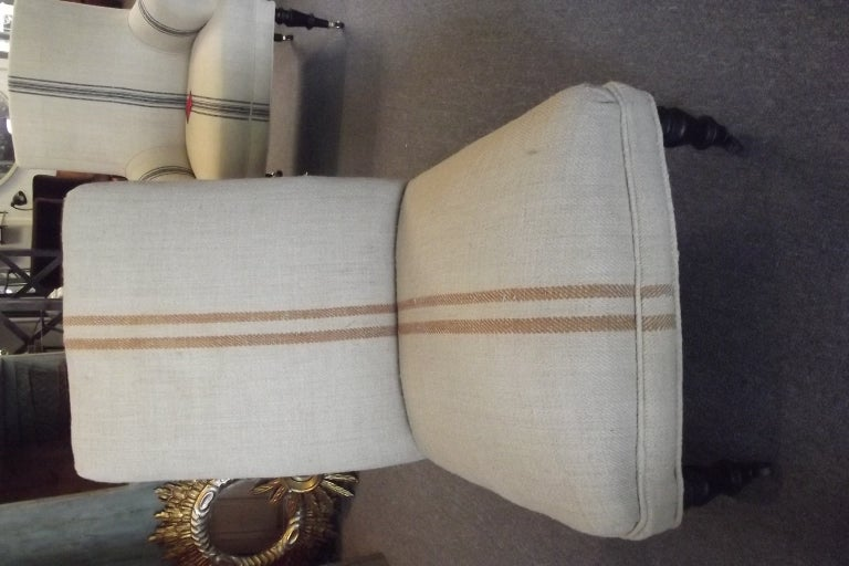 Pair of Napoleon III Chauffeuse in Vintage Stripe Fabric image 2