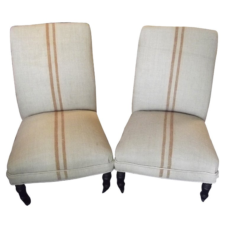 Pair of Napoleon III Chauffeuse in Vintage Stripe Fabric