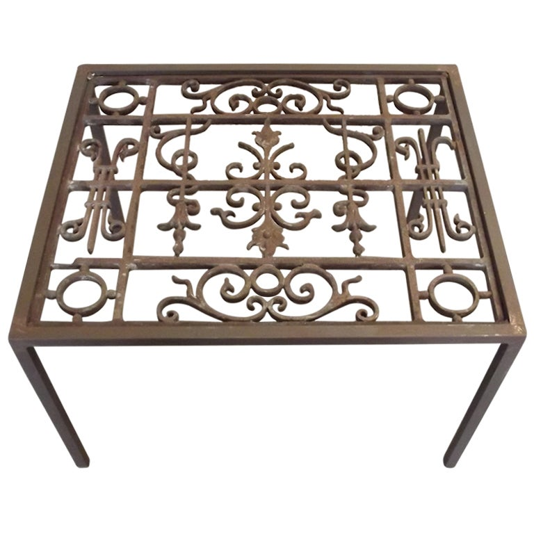 Wrought iron coffee table at 1stdibs for Glass coffee table wrought iron legs