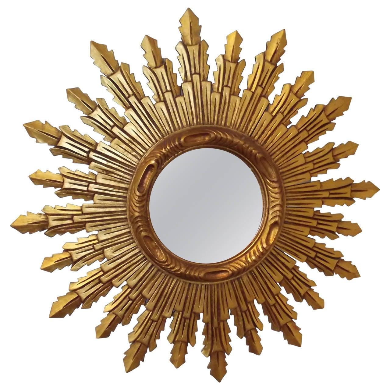 Wooden sunburst mirror at 1stdibs for Sunburst mirror