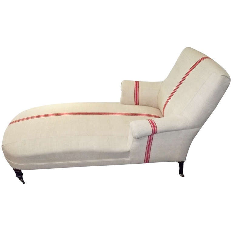 Napoleon iii chaise lounge upholstered in vintage stripe for Chaise napoleon